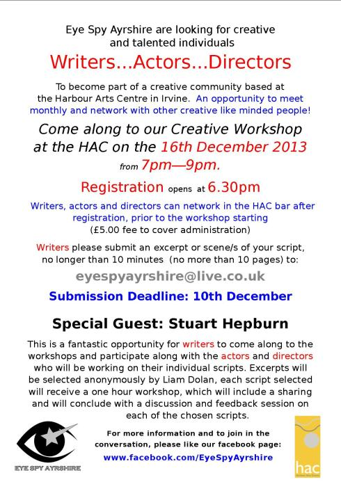 Eye Spy Ayrshire : Creative Writing Workshop 16th Dec Irvine